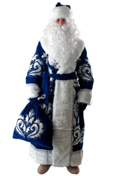 Костюм Деда Мороза бархат с орнаментом синий